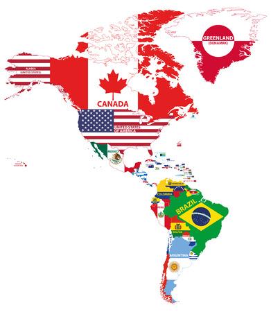 Ilustración de vector de mapa de América del norte y del sur con nombres de países y banderas de países