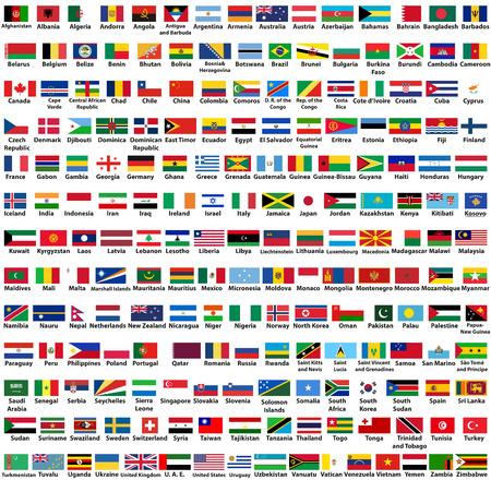 Ensemble de vecteurs de tous les drapeaux des pays du monde, classés par ordre alphabétique Banque d'images - 95197425