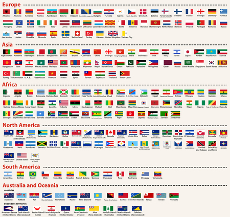 vector set of all world flags arranged in alphabetical order and singled out by continents