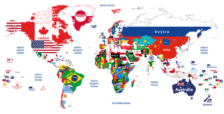 vector high detailed illustration of the map of the world
