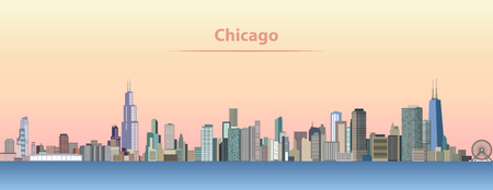 vector abstract illustration of Chicago city skyline at sunrise