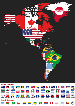 Vector illustration of North and South America map with country names and flags of countries Imagens - 95193814