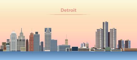 Vector abstract illustration of Detroit city skyline at sunrise