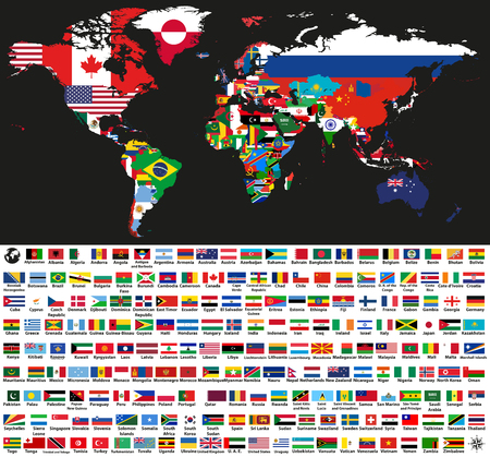 vector abstract world political map mixed with national flags on black background. Collection of all world flags isolated on white background and arranged in alphabetical order Ilustração