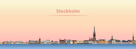 abstract vector illustration of Stockholm city skyline at sunrise