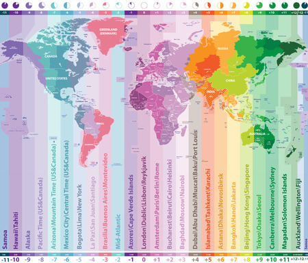 World time zones vector map with countries names and borders Ilustracja
