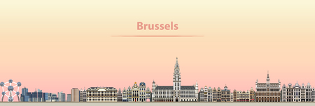 Vector abstract illustration of Brussels city skyline at sunrise Stock fotó - 95190285