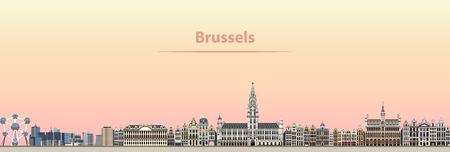 Vector illustration abstraite de bruxelles city skyline au lever du soleil Banque d'images - 95190285