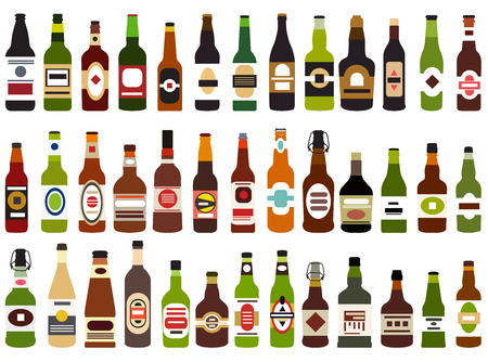 vector set of abstract alcohol bottles isolated on white background