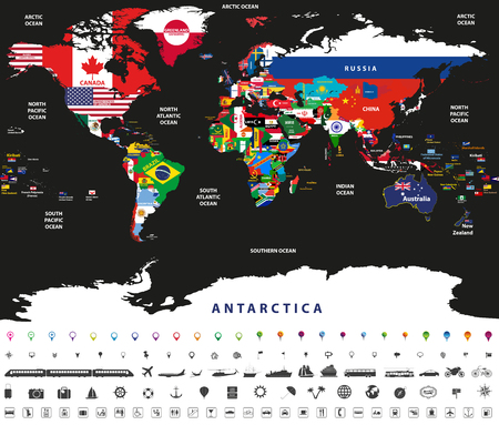 Vector illustration of world map joint with national flags with countries and oceans names Ilustracja