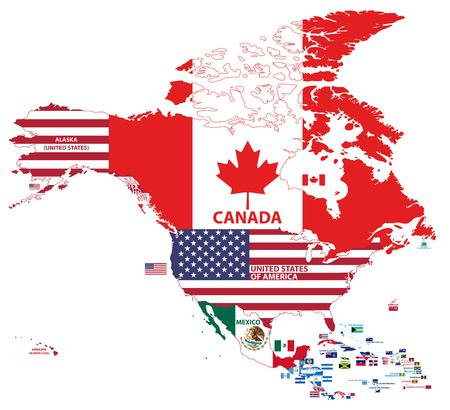 vector illustration of North America map.