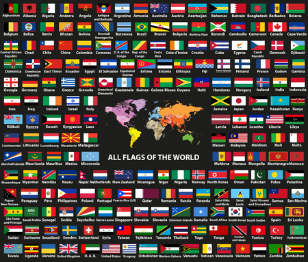 Vector set of all world countries. Map of the world with countries names and borders