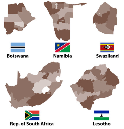 A vector maps and flags of Southern Africa with administrative divisions (regions borders)