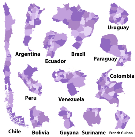 vector maps of South America with administrative divisions