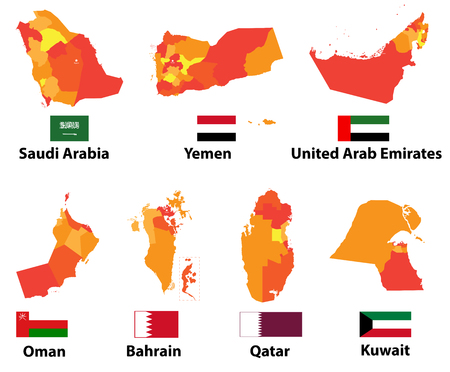 A vector maps and flags Arabic countries of administrative divisions (regions borders)
