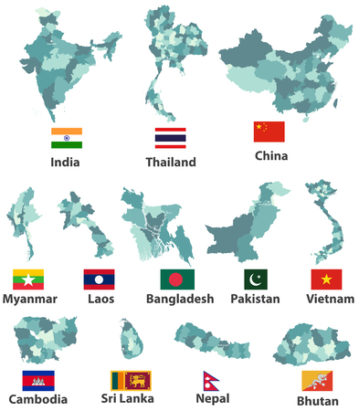 Vector high detailed maps and flags of East Asian countries with administrative divisions (regions borders).