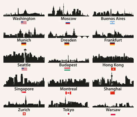 vector world city skylines silhouettes with flags