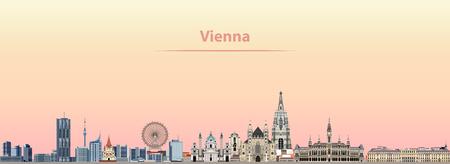 Vienna vector city skyline at sunrise Ilustracja