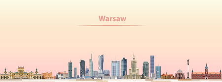City skyline at sunrise Warsaw vector. Vectores