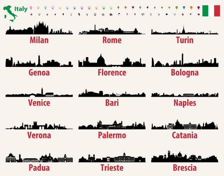 Italy vector cities skylines silhouettes Stock Illustratie