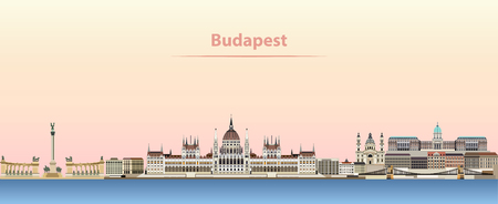 Budapest vector city skyline at sunrise