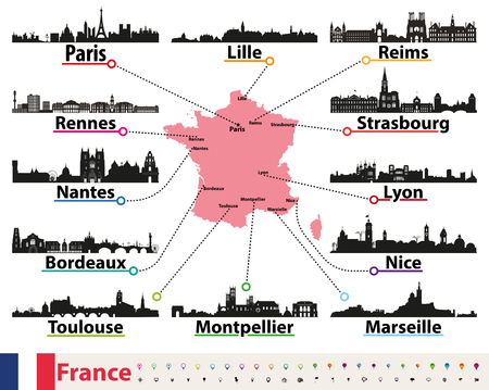 France map with largest cities skylines silhouettes vector set Ilustração