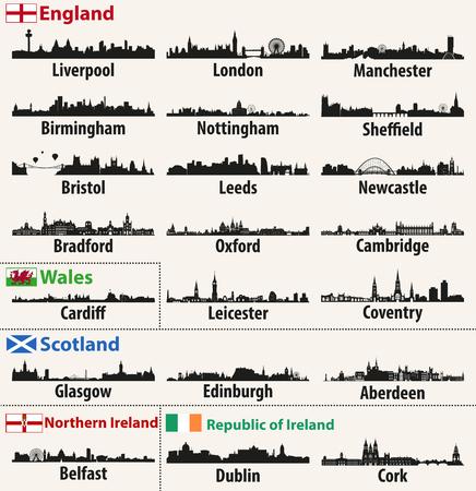 Horizons urbains vectoriels des pays des îles britanniques (Angleterre, Écosse, pays de Galles, Irlande du Nord et République d'Irlande). Banque d'images - 97678886