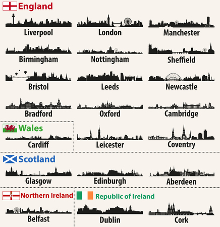 vector city skylines of British Isles countries (England, Scotland, Wales, Northern Ireland and Republic of Ireland). Standard-Bild - 97678886