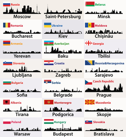 vector silhouettes of East European cities skylines with countries flags