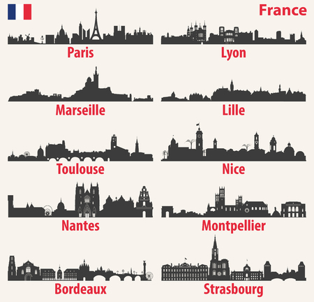 vector city skylines silhouettes of France Vectores