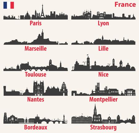 Vektor Stadt Skyline Silhouetten von Frankreich