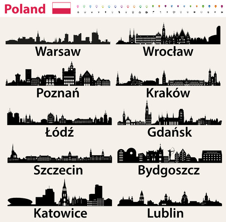Polands largest city skylines silhouettes. Ilustracja