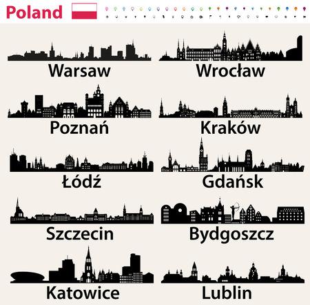 Sylwetki największych miast w Polsce. Ilustracje wektorowe