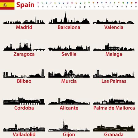 Espagne, plus grandes villes, horizons, silhouettes, vecteur, ensemble Banque d'images - 97675095