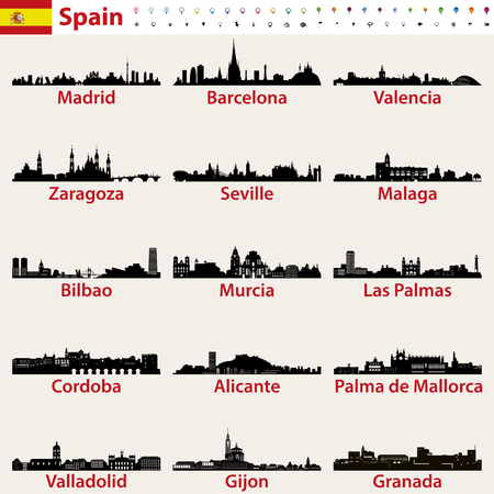 Spain largest cities skylines silhouettes vector set