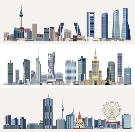urban cityscapes with skyscrapers Vector illustration.