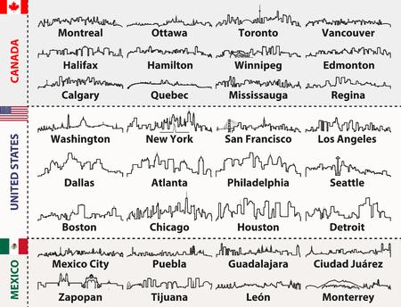 Silhouettes de villes du Canada, des États-Unis et du Mexique