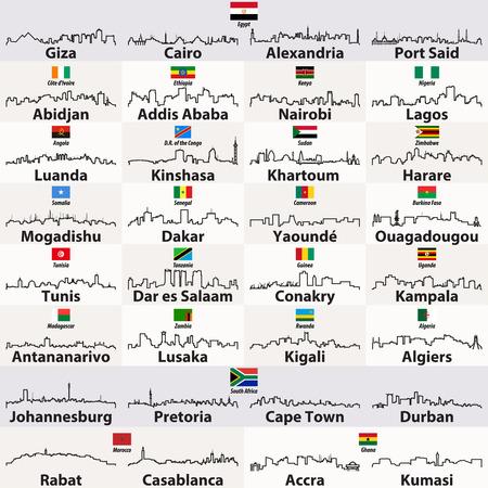 vector outlines of african cities skylines