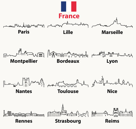 vector outline icons of France cities skylines