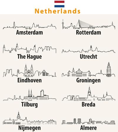 オランダの都市のベクターアウトライン。  イラスト・ベクター素材