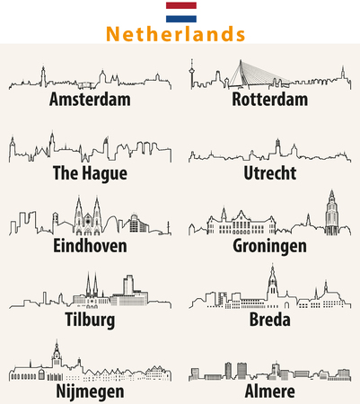 vector outline of cities in Netherlands.