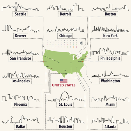 vector map of United States of America with largest cities skylines outlines Illustration