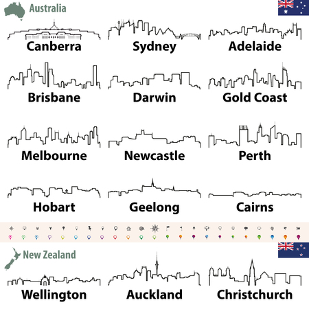 vector outline icon of Australia and New Zealand cities skylines