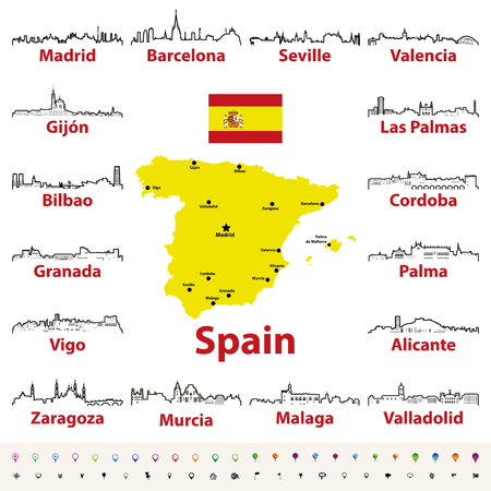 vector outline icons of Spain cities skylines with map and flag of Spain