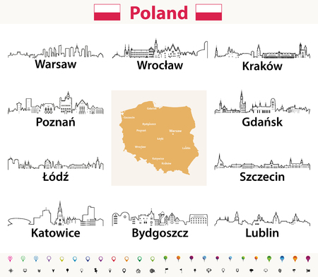 vector outline icons of Poland cities skylines with polish map and flag