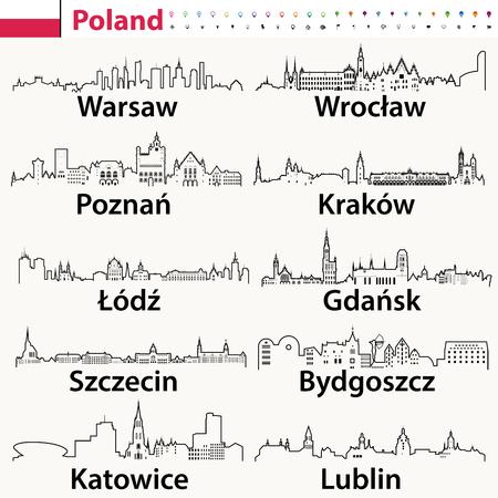 wektor zarys ikony polskich miast sylwetki na tle nieba