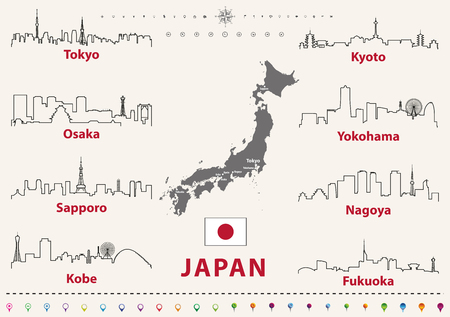 vector outline icons of Japan cities skylines with japanese flag and map Illustration
