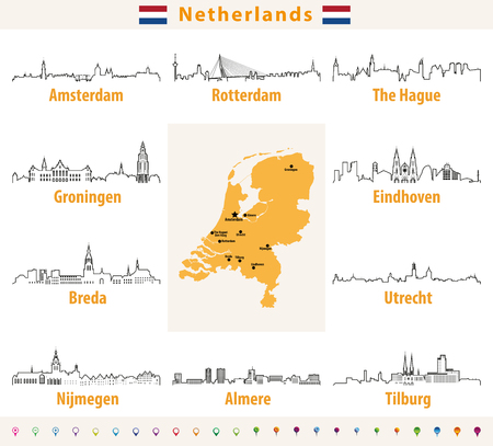 vector outline icons of Netherlands cities skylines