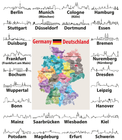 vector outline icons of Germany cities skylines