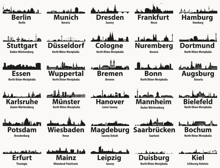 Germany largest cities skylines silhouettes vector set Stock Illustratie